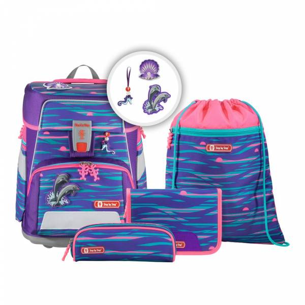 Step by Step Space Shiny Dolphins 5-teilig - Schulranzen-Set