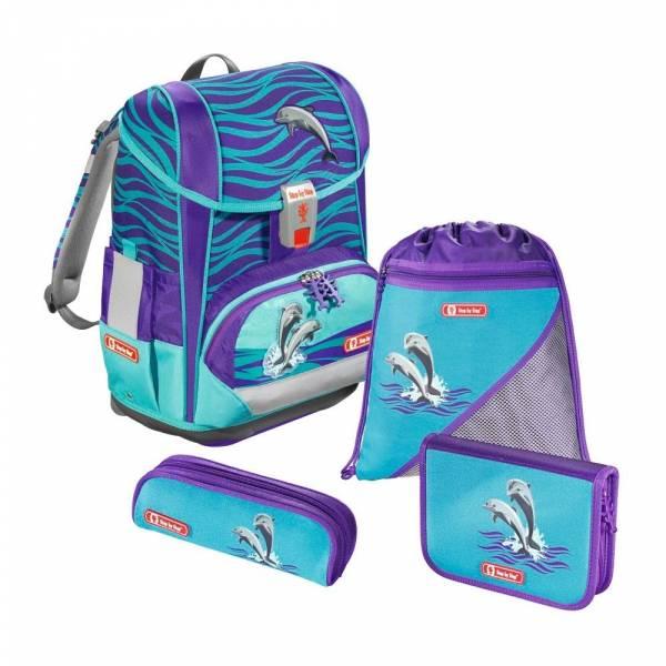 Step by Step Schulranzen-Set Light 2 4-teilig Happy Dolphins