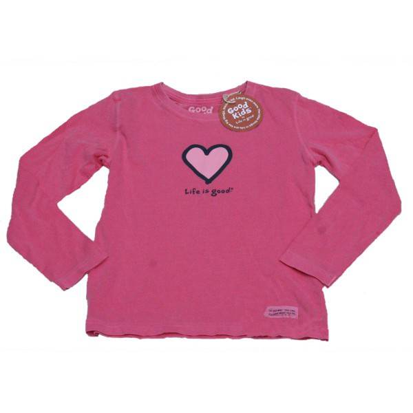 Life is good Crusher Long Sl. Tee Heart dark pink
